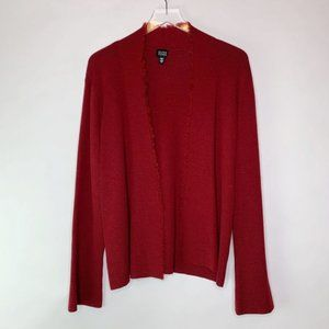 Eileen Fisher Raw Edge Cardigan in Red L